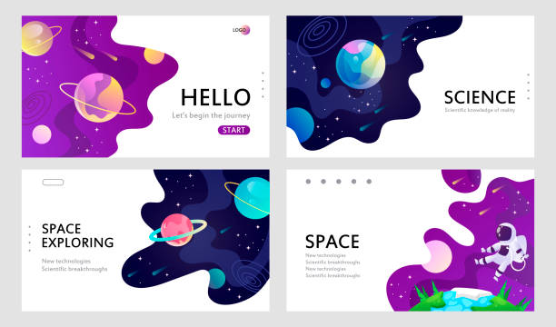 set of web banners templates. presentation. space explore. cartoon vector illustration. - space background stock illustrations