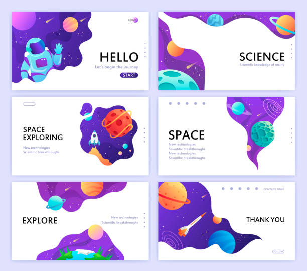 set of web banners templates. presentation. space explore. children cartoon vector illustration. science - space background stock illustrations