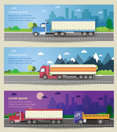 Set of web banners trucks. Color flat icons.