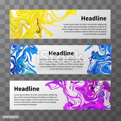 istock Set of web banners with colorful splashes and text place 589558930