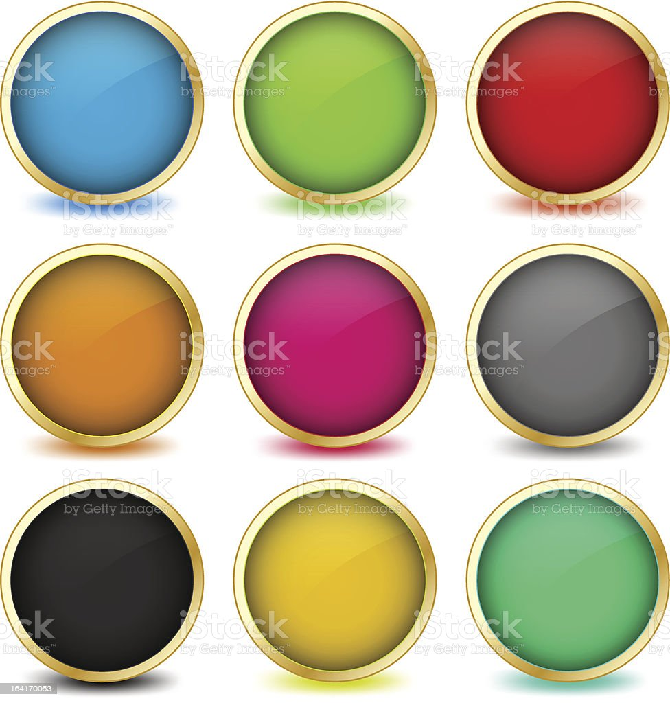 Set of web buttons with golden frames. Vector eps10 royalty-free stock vector art