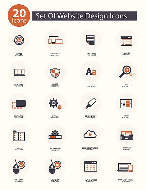 satz von web-icons, vektor orange version, - korrekturlesen stock-grafiken, -clipart, -cartoons und -symbole