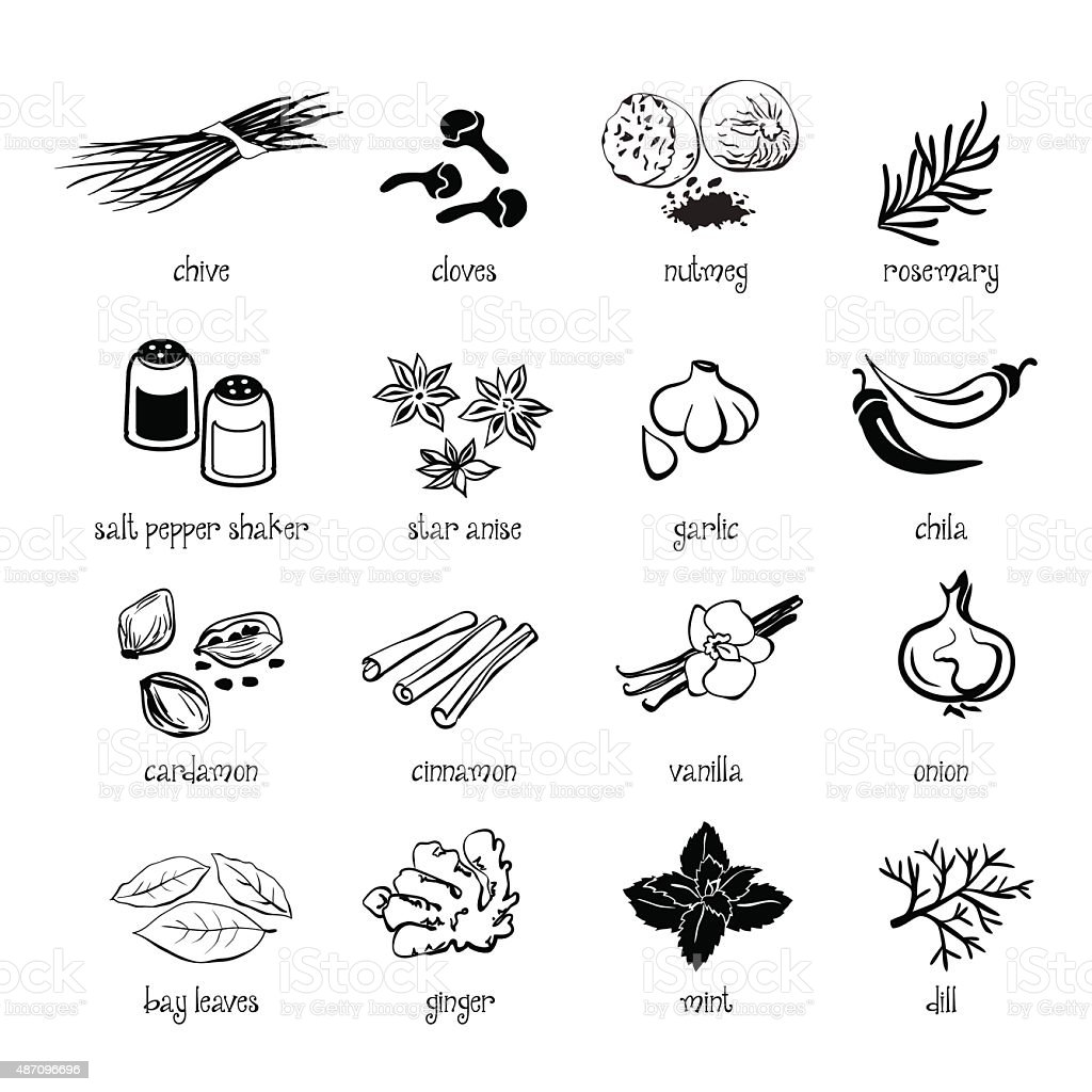 Set of web icon set - spices, condiments and herbs vector art illustration