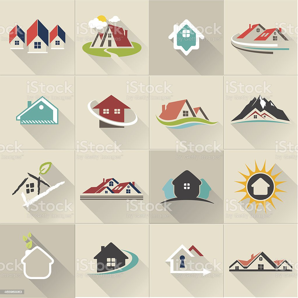 Set of web icons and vector logos in stylish colors vector art illustration