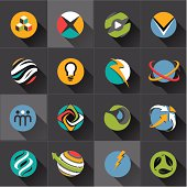 Set of web icons and vector logos in stylish colors