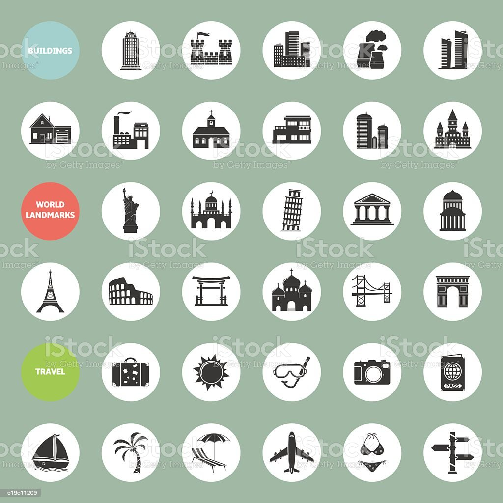 Set of web icons for buildings, landmarks and travel vector art illustration