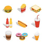 Vector illustration. Set of web icons for fast food restaurant. Burger, hot dog, drinks, donuts, ice cream, French fries, sandwich. Isometry, 3D.