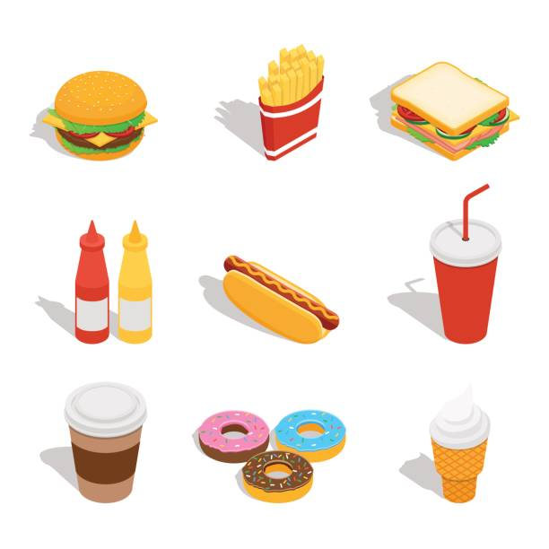 illustrazioni stock, clip art, cartoni animati e icone di tendenza di set of web icons for fast food restaurant - panino