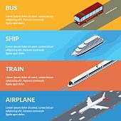 Vector illustration. Set of web banners public passenger transport. Bus, train, airplane, ship. Isometric, 3D. Design for ticket sales, travel and tourism.