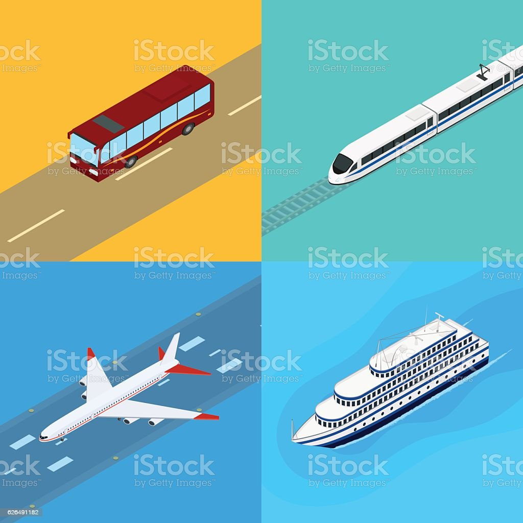 Set of web icons public passenger transport vector art illustration