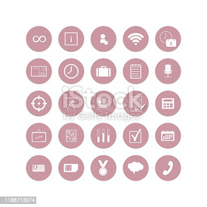 Set of web icons. Social, business and study icons in a circle icon on white isolated background. Layers grouped for easy editing illustration. For your design.
