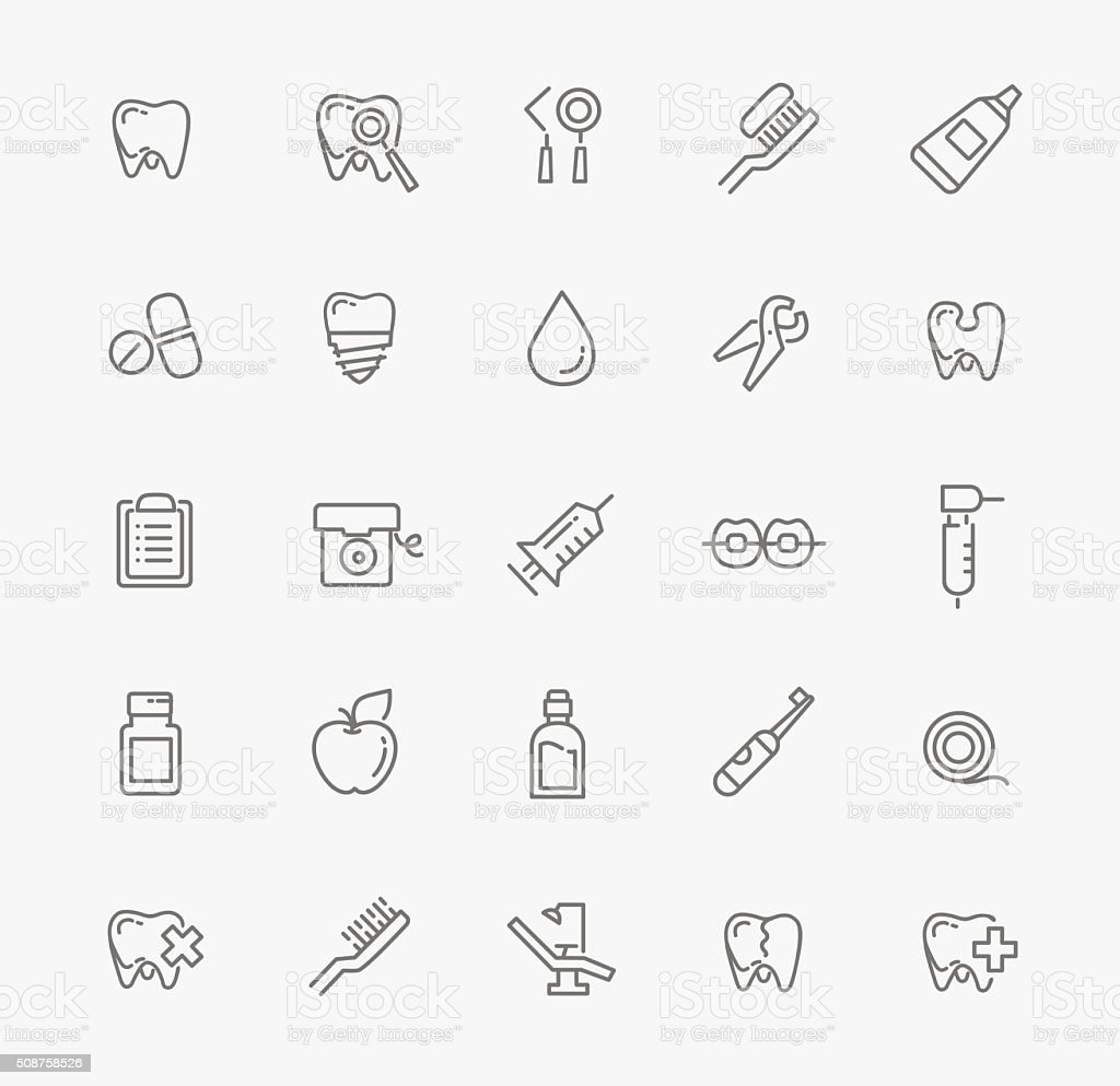 Set of web icons - teeth, dentistry, medicine, health vector art illustration