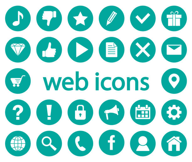 set von web icons. vektor-illustration - social media icons stock-grafiken, -clipart, -cartoons und -symbole