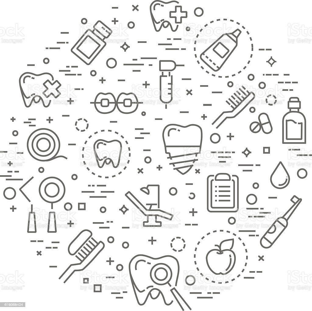 Set of web line icons - teeth, dentistry, medicine, health vector art illustration