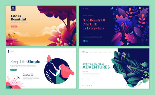 set of web page design templates for beauty, spa, wellness, natural products, cosmetics, body care, healthy life - в пути stock illustrations