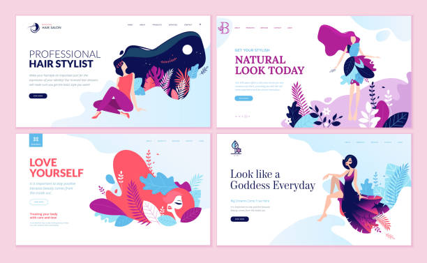 set of web page design templates for beauty, spa, wellness, natural products, cosmetics, body care, healthy life - makeup fashion stock illustrations