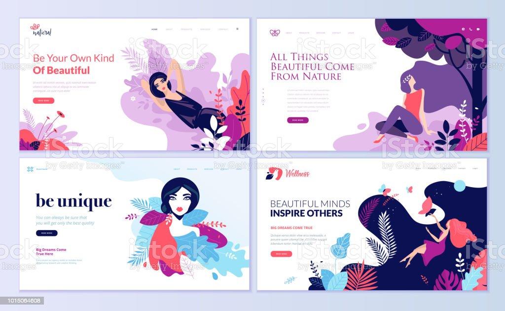 Satz von Web-Seite Design-Vorlagen für Beauty, Spa, Wellness, Naturprodukte, Kosmetik, Körperpflege, Gesundes Leben – Vektorgrafik