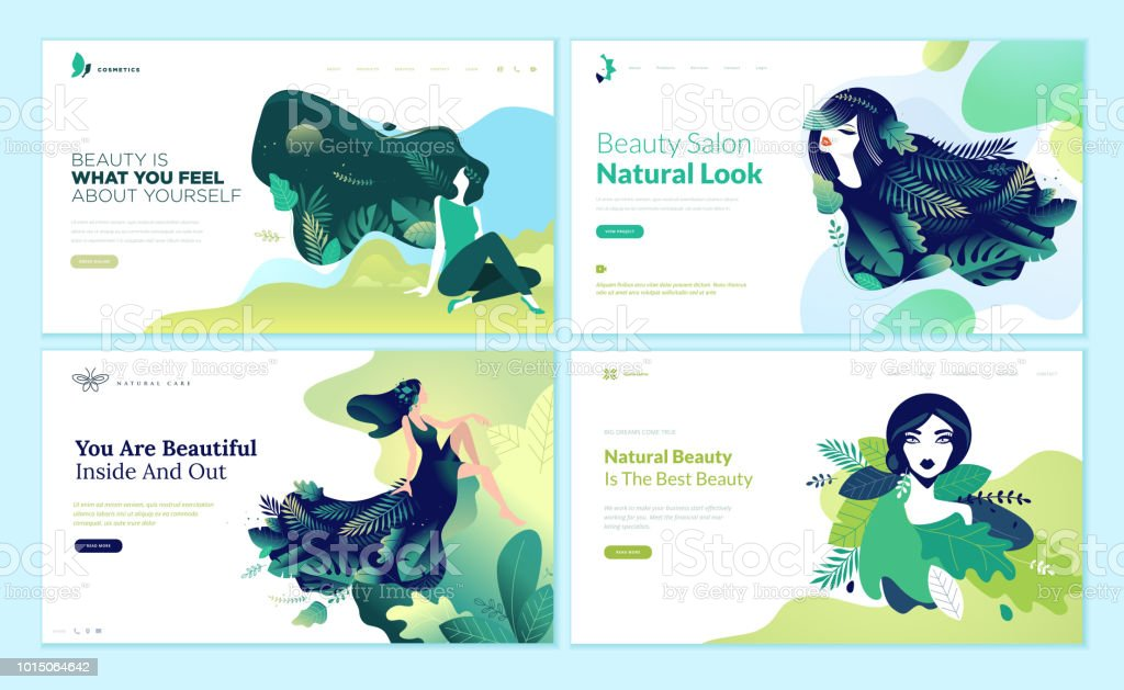 Set of web page design templates for beauty, spa, wellness, natural products, cosmetics, body care, healthy life royalty-free set of web page design templates for beauty spa wellness natural products cosmetics body care healthy life stock illustration - download image now
