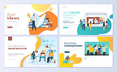 Set of web page design templates for book library, online learning, education