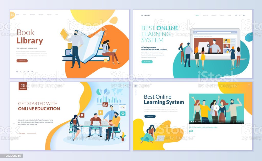 Set of web page design templates for book library, online learning, education vector art illustration