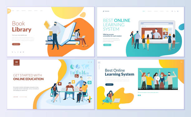 Set of web page design templates for book library, online learning, education Modern vector illustration concepts for website and mobile website development. e reader stock illustrations