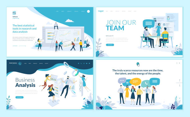 set of web page design templates for business app, data analysis, career, communication, teamwork - resume templates stock illustrations