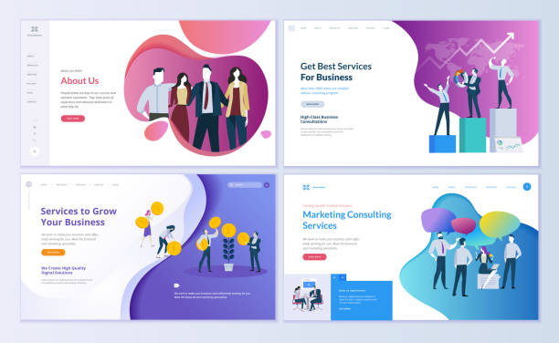 Set of web page design templates for business, finance and marketing Modern vector illustration concepts for website and mobile website development. Easy to edit and customize. banking borders stock illustrations