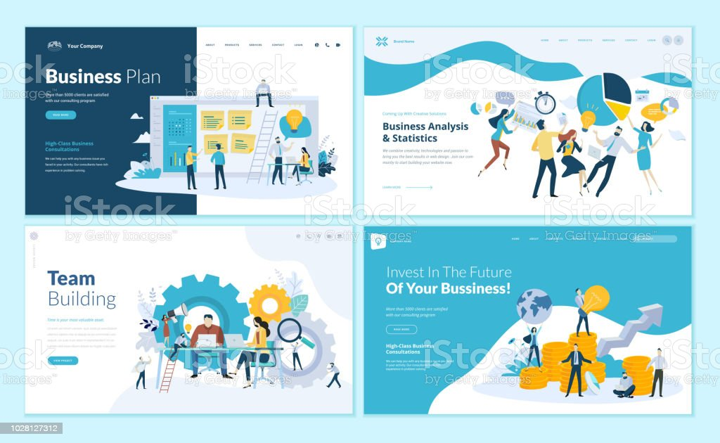 Set of web page design templates for business plan, analysis and statistics, team building, consulting royalty-free set of web page design templates for business plan analysis and statistics team building consulting stock illustration - download image now