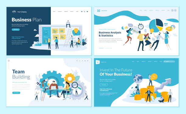 set of web page design templates for business plan, analysis and statistics, team building, consulting - finance stock illustrations