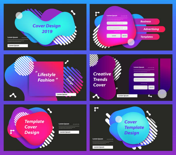 Set of web page design templates for business Prism color of the rainbow in a bright and geometric multi-colored bubbles and fluid shapes, Vector illustration - illustrazione arte vettoriale