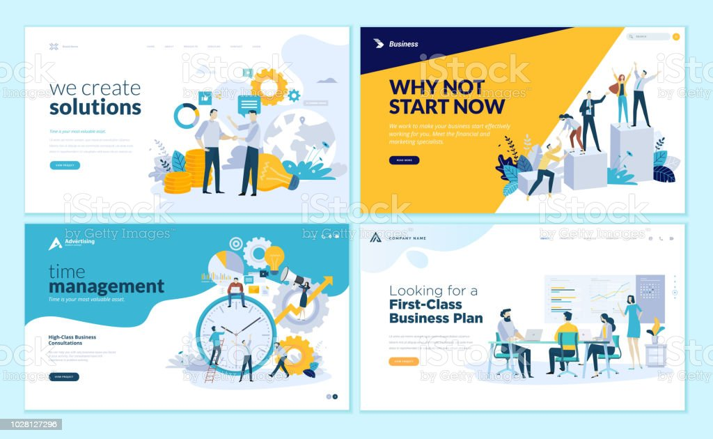 Satz von Web-Seite Design-Vorlagen für Business-Lösungen, Start, Zeit-Management, Planung und Strategie – Vektorgrafik