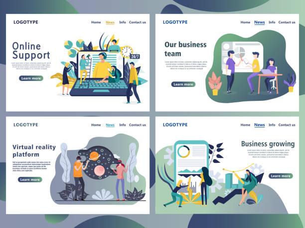 satz von web-seite design-vorlagen für unternehmen. - arbeitsvermittlung stock-grafiken, -clipart, -cartoons und -symbole