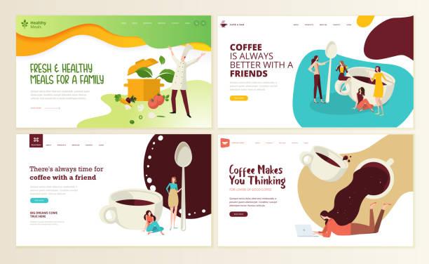 набор шаблонов дизайна веб-страниц для кофе, кафе-бара, кафе, ресторана, здоровой еды и напитков, доставки еды. - food delivery stock illustrations