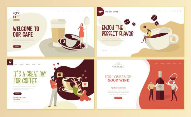 набор шаблонов дизайна веб-страниц для кофе, кафе-бара, кафе, ресторана, вина, виноградника, винного магазина, электронной коммерции. - food delivery stock illustrations