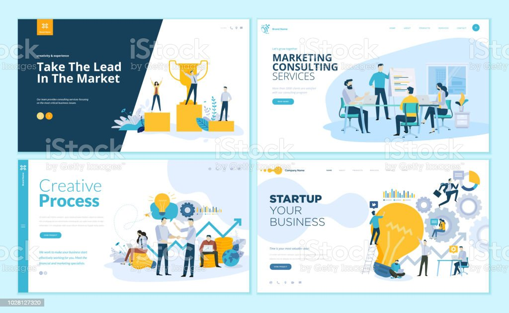 Set of web page design templates for creative process, business success and teamwork, marketing consulting royalty-free set of web page design templates for creative process business success and teamwork marketing consulting stock illustration - download image now