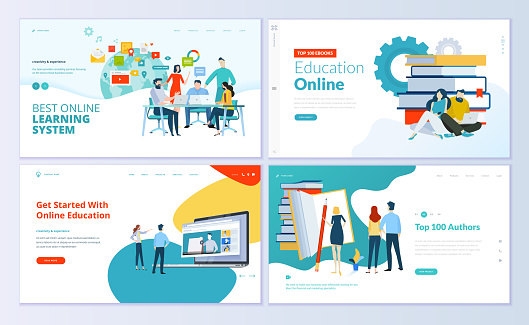 Set of web page design templates for e-learning, online education, e-book