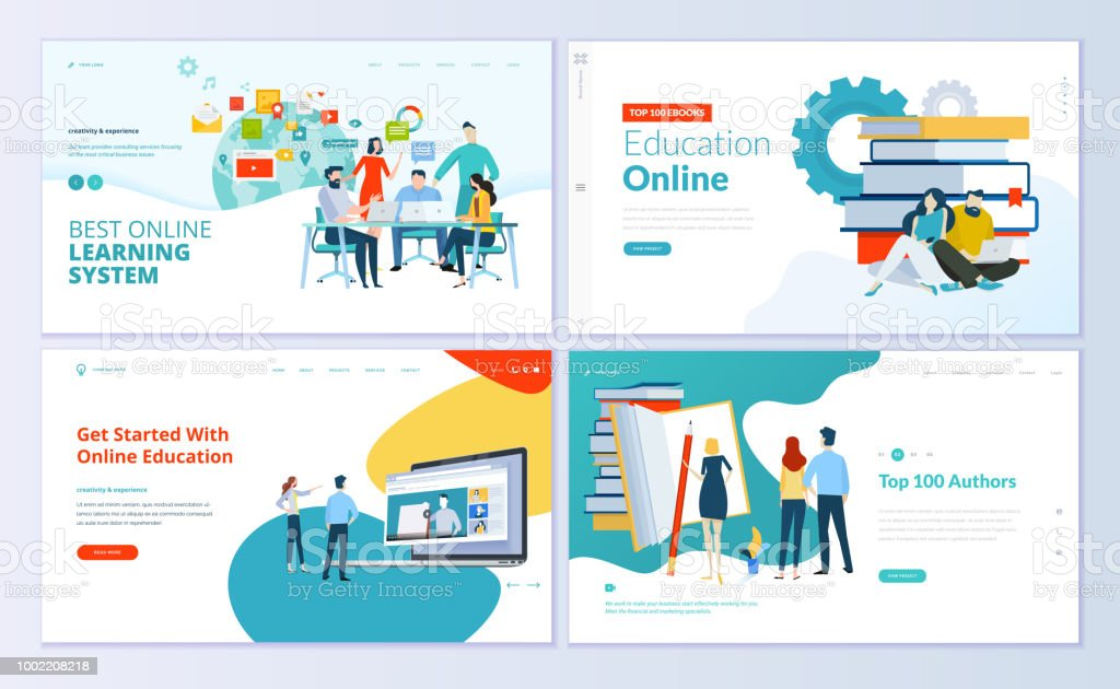Set of web page design templates for e-learning, online education, e-book vector art illustration