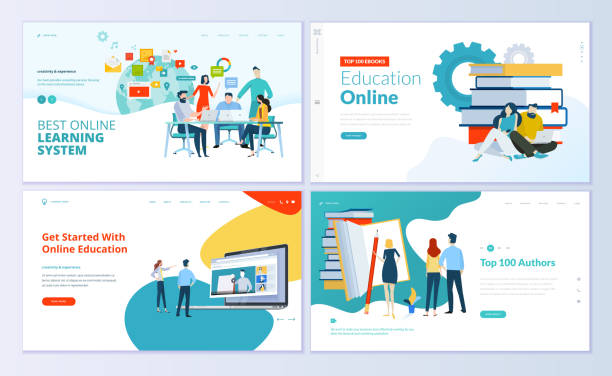 set of web page design templates for e-learning, online education, e-book - online learning stock illustrations
