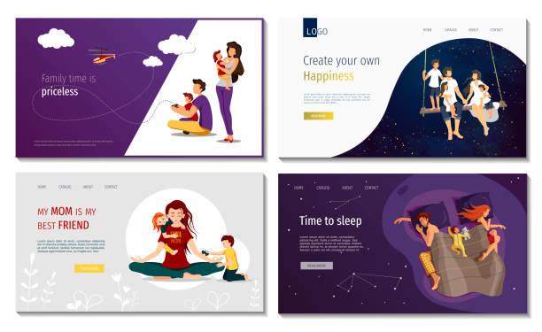 bildbanksillustrationer, clip art samt tecknat material och ikoner med uppsättning av webbsida designmallar för familj, lycka, föräldraskap, barndom, familjeplanering, värderingar, helgdagar, serenity. - baby sleeping
