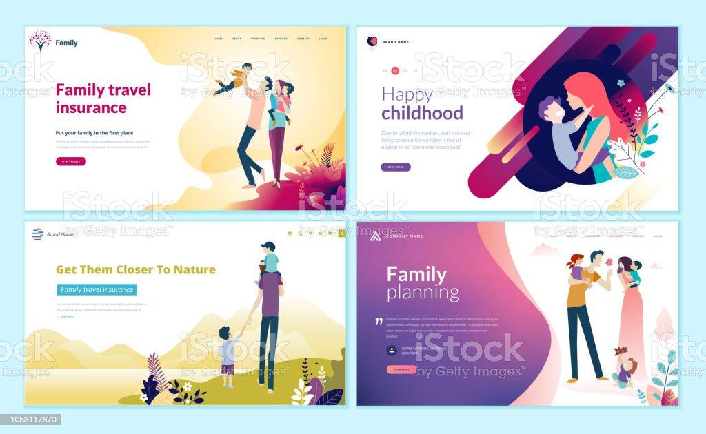 Satz von Web-Seite Design-Vorlagen für Familienplanung, Reiseversicherung, Natur und gesundes Leben. – Vektorgrafik