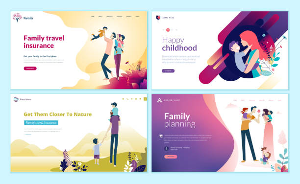 set of web page design templates for family planning, travel insurance, nature and healthy life. - family stock illustrations, clip art, cartoons, & icons