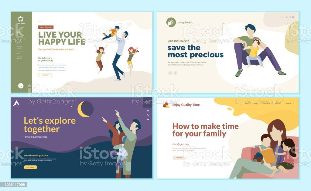 Satz von Web-Seite Design-Vorlagen für Familienzeit, Kinder Versicherung, glückliche Familie. – Vektorgrafik