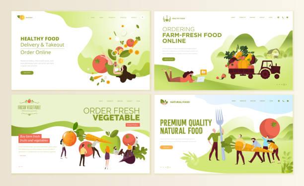 набор шаблонов веб-страниц для фермерских свежих продуктов питания, онлайн-заказа продуктов питания, органических овощей, электронной ком� - food delivery stock illustrations
