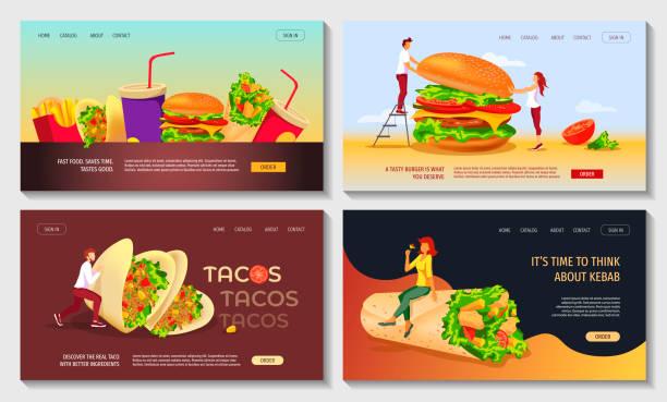 set von web-seite design-vorlagen für fast food, kochen, café und restaurant-menü, lebensmittel-bestellung, junk-food. burger, kebab, tacos - döner stock-grafiken, -clipart, -cartoons und -symbole