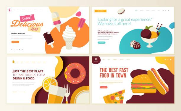 набор шаблонов дизайна веб-страниц для фаст-фуда, мороженого, кондитерской, кондитерских изделий, сладостей, ресторана, еды и напитков. - food delivery stock illustrations