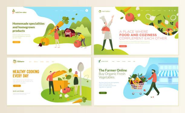 набор шаблонов дизайна веб-страниц для продуктов питания и напитков, натуральных продуктов, органических продуктов питания, ресторана, инт - food delivery stock illustrations