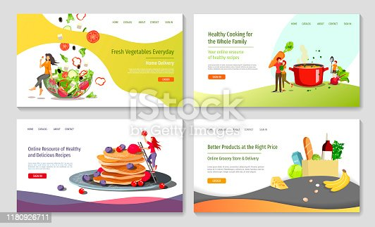 istock Set of web page design templates for Healthy cooking, recipes, fresh vegetables, grocery store or market . 1180926711