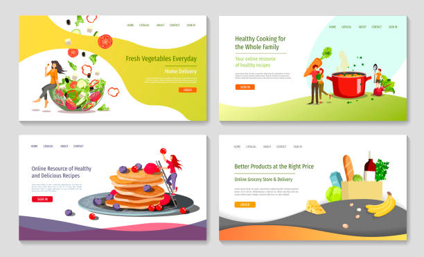 set of web page design templates for healthy cooking, recipes, fresh vegetables, grocery store or market . - woman cooking stock illustrations