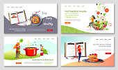 Set of web page design templates for Healthy food, cooking, recipes, fresh vegetables, recipe books. Vector illustration in a flat style can be used for poster, banner, website, presentation.