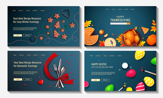 Set of web page design templates for holidays, Christmas, New Year, Valentine's Day, Easter, Thanksgiving day, Cooking, Food.